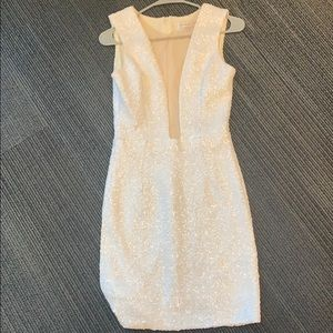 White Sleeveless Sequin Dress